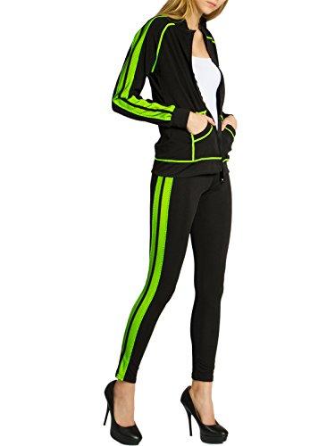 CASPAR JG002 stylischer Damen Jogginganzug, Größe:M/L, Farbe:schwarz/neon gelb