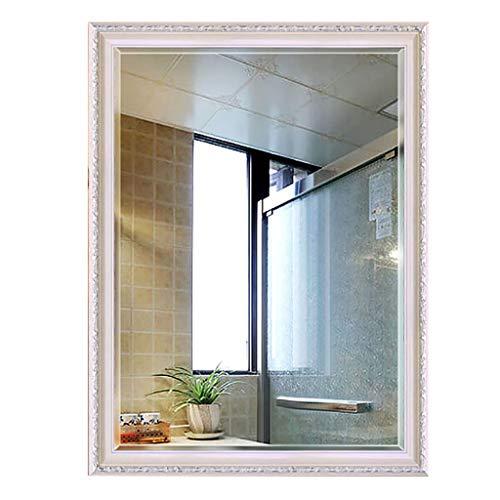 YiYi Bathroom mirror Wandspiegel | Europäischen Stil Rahmen | Festes abgeschrägtes Glas | Dekorativer Spiegel für Waschtisch, Schlafzimmer oder Badezimmer | Hängt horizontal oder vertikal -