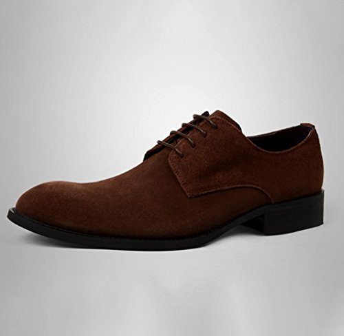 Heart&M casual business glassato suede di uomo shoes pointed toe in pelle coffee