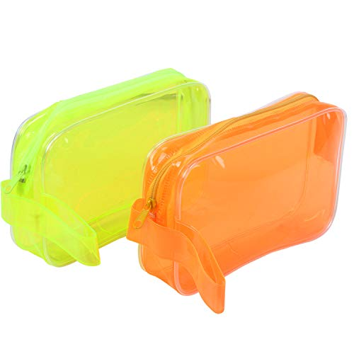 TREELY Transparent Travel Cosmetic Cases or Multipurpose Makeup Handy Zipper PVC Pouch (Multi Designs, Plain 2PC)