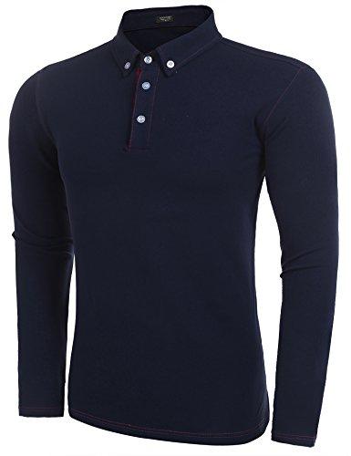 COOFANDY Herren Poloshirt Langarm Button Down Pique Qualität Slim Fit Casual Shirt Dunkel Blau