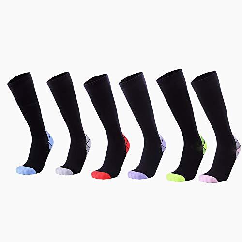 YAOSHIBIAN-Socks 3 Paar 20-30mmhg kompressionshülse socken für Frauen absolvierte Athletic Unisex fit für Krankenschwester, Laufen, Flug Reise, Lässig Bequem (Farbe : Rosa, Größe : 3 Pair Men 39-45)