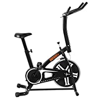 ONETWOFIT Indoor Cycling Exercise Bike, Direct Belt Driven 18 lbs Flywheel, 3-Piece Crank, 7-Function Monitor, Heart Rate Sensors, Adjustable Seat OT077