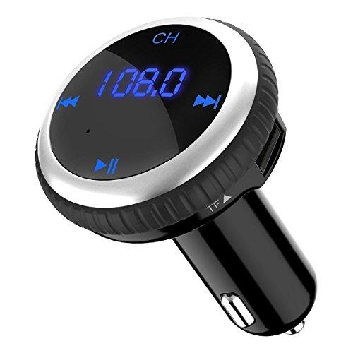 Transmitter 5V/2.1A KFZ Auto Lokalisierer Wireless mp3 Player Audio Radio Adapter freisprecheinrichtung mit 2 USB Ladegerät, LED Anzeige für iOS und Android Geräte - Silber (- Bluetooth-mp3-player Für Auto)