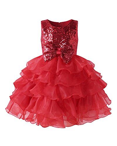 leid Blumenmädchen Prinzessin Kleid Babykleid Mädchen Party Kleider HochzeitKleid Rot 140CM (Mädchen Party Kleider Rot)