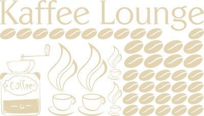Preisvergleich Produktbild Wandaufkleber Wandtattoo Tattoo Set für Küche Spruch Kaffee Lounge Kaffeebohnen (100x57cm//082 beige)