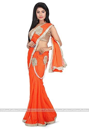 Utsav Fashion Women's Pre Stitched Lycra Saree in Orange