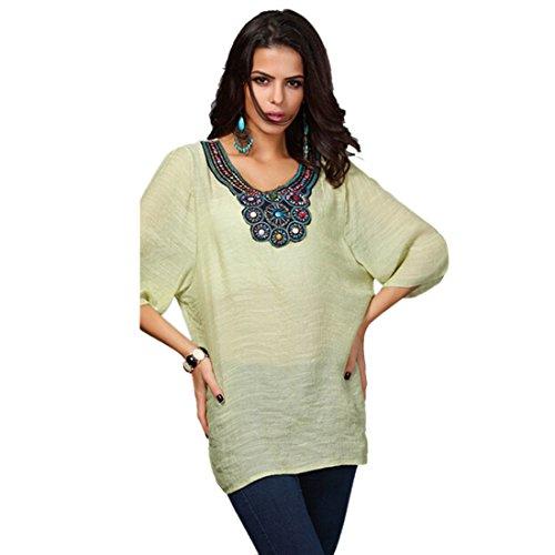 QIYUN.Z Plage Tribale T-Shirt Col V Broderie Haut De Chemise a Manches 3/4 Des Femmes Boheme Fruit vert