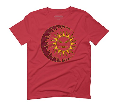 Sun Eclipsing the Moon with a Smile Men's Graphic T-Shirt - Design By Humans Red