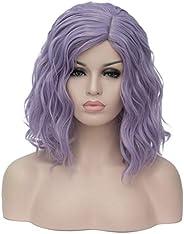 Mildiso Wigs Short Bob Wavy Curly Women Wigs Purple Synthetic Hair Cosplay Halloween Wigs with Wig Cap M004PRZ