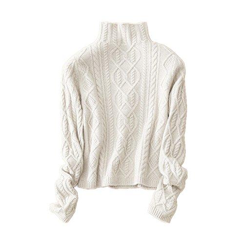 Wenwenma Cachemire Col Haut en Cachemire Pull - Femme - Mode Torsadé Tricoté Pull (Blanc, Small)