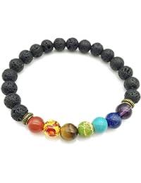 99fc55edd5f5 SODIAL Pulsera de curacion de 7 chakras Pulsera de amuleto para hombres y  mujeres piedras de