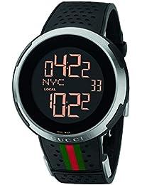 5c5ba2df6d409 Gucci I-Gucci Digital negro correa de caucho reloj para hombre (modelo   YA114103