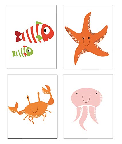 Zauberkern® 4er Poster Set Bilder Kinderzimmer - A4 Bild | Kinderzimmer Deko & Babyzimmer Deko | Wanddekoration & Wandbild | Kids Poster mit Tierbilder | Zoo Afrika Bilder Poster Tiere | ohne Rahmen