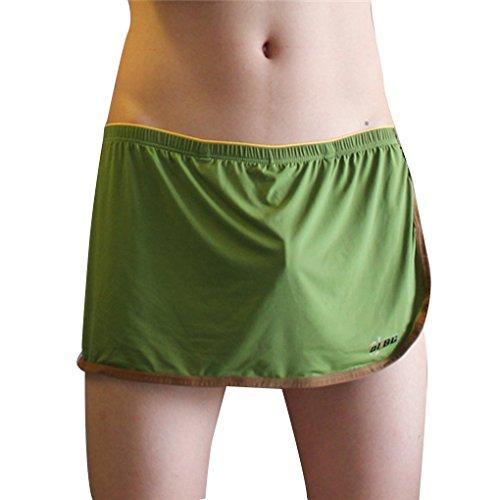 Babysbreath Men Boxers Seamless U Convex Pouch Respirant Solid Color Ice Soie Casual Home Underpants vert XL