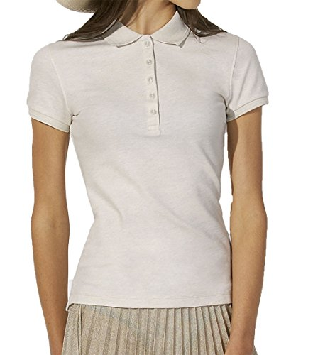 Damen Poloshirt Aus 95% Biobaumwolle und 5% Elastan, Poloshirt Damen Baumwolle (Bio), Damen Polo-Piqué Bio, Polo Shirts Bio, Damen Polohemd Bio (M, Cream Heather Grey)