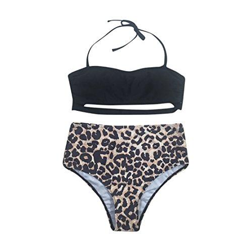 Leopard Bügel Bikini (Frauen Bademode Bikini,Loveso Straps Leopard Bikini Set Bademode Badeanzüge Bikinis für Frauen Mädchen Bandeau Push Up mit Bügel (XL, Schwarz))