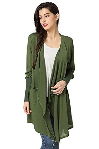 Cardigan femme Manches Longues Asymétrique Gilet Veste Ouvert Irrégulier Lâche Outwear (X-Large, vert)