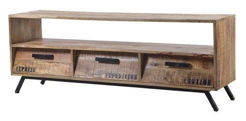 TV-Lowboard TV-Board Romsdal, Retro Vintage Design, Massivholz Mangoholz Natur, Breite 140 cm, Tiefe 40 cm, Höhe 52 cm - 7