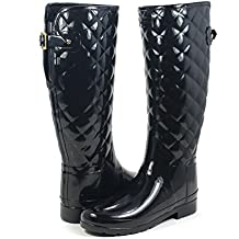 Hunter Woman Original Refined Gloss Quilt Tall Black WFT1031RGL BLK, botas de agua color negro
