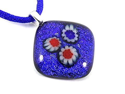 Handmade Dichroic Glass Pendant in Blue with Millefiori Flowers - 2cm x 2cm & Includes Gift Box