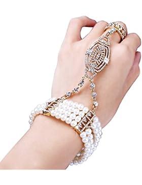 Babeyond Damen Ring Armband Set Retro 1920er Party Pailetten und Imitation Perlen Verbunden Ring und Armband Inspiriert...