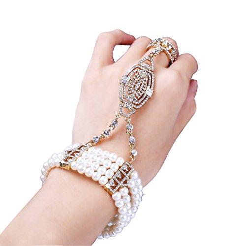 Armband Set Retro 1920er Party Pailetten und Imitation Perlen Verbunden Ring und Armband Inspiriert von The Great Gatsby Bling Mode Schmuck (Gold) (Kostüm Schmuck Gold Ringe)