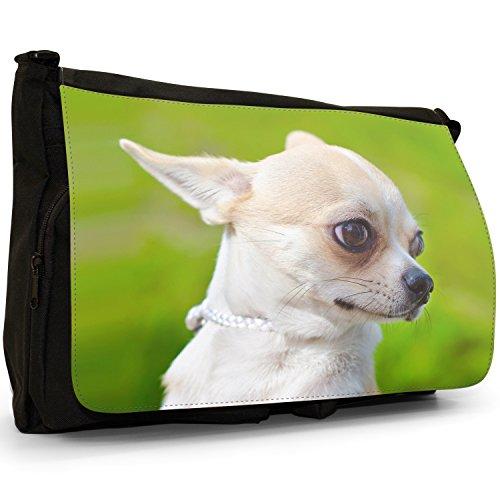Messicano Taco Bell Chihuahua cane grande borsa a tracolla Messenger Tela Nera, scuola/Borsa Per Laptop Portrait Of Chihuahua