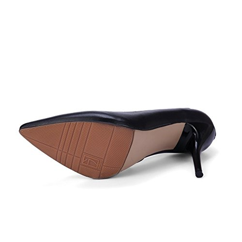 Adee Mesdames pointed-toe massif Chaussures Pompes en cuir Noir - noir
