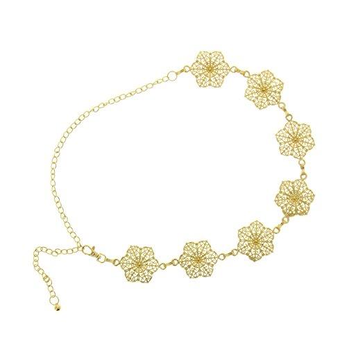 Fashiongen - cinturón de eslabones, cadenas, ajustable, cinturón de cadenas para mujer, CARENE - Dorado, Talla única