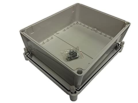 IP66 Weather resistant sealed 340 x 280 x 130mm ABS enclosure for outdoor exterior use as junction box or electronics enclosure with spares kit containing wall fixings and IP68 cable glands.