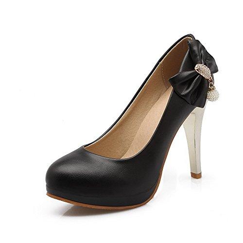 AllhqFashion Femme Tire Rond Stylet Pu Cuir Couleur Unie Chaussures Légeres Noir