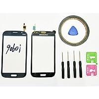 JRLinco ParaSamsung Galaxy Grand Neo 9060i FlexPantalla de Cristal Táctil, Pieza de Recambio touchscreen glass display(Sin LCD)ParaNegro + Herramientas y Adhesivo de Doble Cara + Paquete de Limpieza