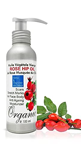 Rosehip Oil 100% BIO Rejuvenating Oil 100 ml ● Reduces Fine Lines & Wrinkles ● Photo-Aging Protection ● Improves Scars and Stretch Marks ● Best Anti Wrinkles ● Highly Effective for Skin Concerns ● Dry / Very Dry Skin ● Safe on Baby's Skin and for Pregnant Women ● Cold Pressed Pure Oil ● To Soften, Heal & Hydrate Face and Body ● by bleumarine