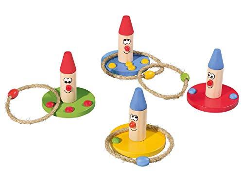 Playtive Junior Wurfspiel Set 12-teilig aus Echtholz 4 Spielfiguren 8 Wurfringe
