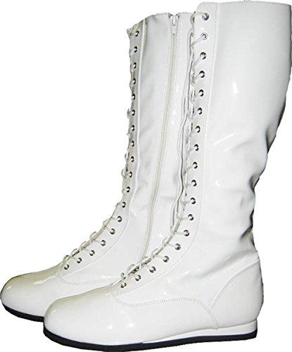 Stiefel Kostüm Weiß Herren - MyPartyShirt Weiß Erwachsene Stiefel Pro Wrestling Kostüm WWF WWE Super Hero Boxen Herren Schuhe, Weiß - weiß - Größe: 39.5 EU/41 EU/Small