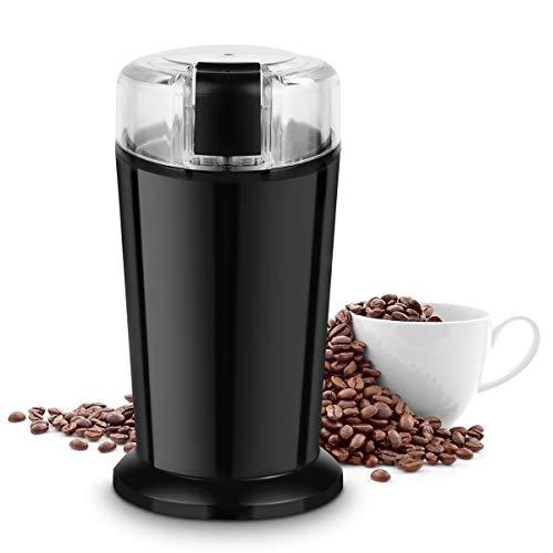 COSTWAY Elektrische Kaffeemühle Universalmühle für Kaffeebohnen, Nüsse und Gewürze, Kaffee Mühle Edelstahl / 70g / 150W (Schwarz)