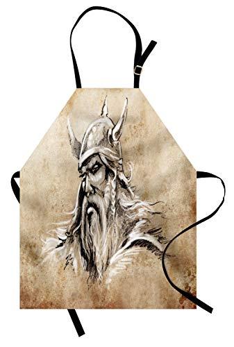 ABAKUHAUS Wikinger Kochschürze, Sketch Style skandinavischen Krieger mit Bart und Hut männliche Figur Porträt Tattoo, Farbfest Höhenverstellbar Waschbar Klarer Digitaldruck, Beige Tan