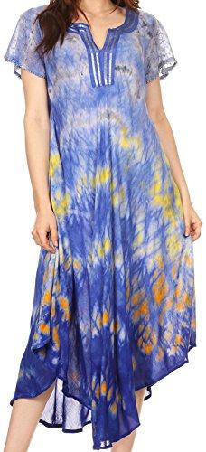 Sakkas 17709 - Sakkas Anita Kurzarm Krawatte Dye Split Neck Kleid / Cover Up - Blau / Grau - OS (Tie-dye-gaze)