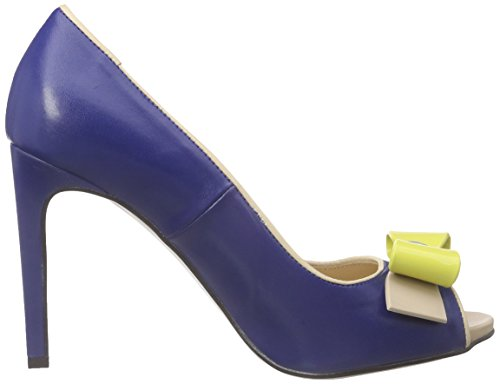 Pollini San.Lod.tunit90 Napu Gi-Nu-Bt, Escarpins Bout Ouvert Femme Bleu (70A BLUETTE PU SOFT-NUDE PU SOFT-YELLOW-NUDE-BLUETTE PVC BOW)