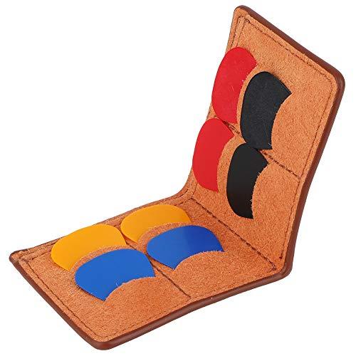 Drfeify Plektrum Halter für Gitarren, Tragbarer Plektrum Koffer Tasche Plektrum Halter mit Plektrum(Braun)