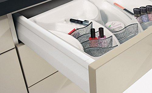 Gedotec Kosmetikeinsatz Schublade Kosmetik-Organizer weiß für Waschtisch-Unterschrank | Schubkasteneinsatz universell für Korpusbreite: 300 mm | Höhe 45 mm | 1 Stück - Schubladen-Organizer für Bäder (Schublade-waschtisch-organizer)