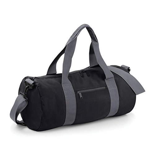 Bagbase-20-Liters-Plain-Gym-Travel-Outdoor-Barrel-Duffle-Bag-BlackGrey-by-BagBase