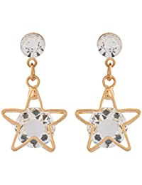 Voylla Fashion Alloy With Flash Gold Plated Cubic Zirconia Earrings For Women