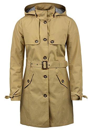 Desires Tina Damen Trenchcoat Übergangsmantel Jacke Mit Abnehmbarer Kapuze, Größe:S, Farbe:Sand (4073)