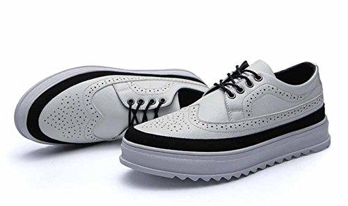 Männer Plattform Keil Freizeitschuhe 2017 Herbst Winter Neue Low Top Brogue Flache Stiefel ( Color : Weiß , Größe : 44 ) (Weiß-plattform-stiefel)