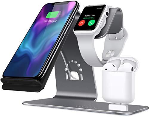 Soporte [3 en 1] Apple iWatch de aluminio, zona de carga para AirPods, cargador inalámbrico de carga rápida para iPhone 7/ 6s Plus, Samsung S8 y otros dispositivos Qi en Gris
