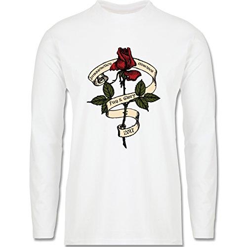 JGA Junggesellenabschied - Junggesellenabschied 2017 Rockabilly Rose - Longsleeve / langärmeliges T-Shirt für Herren Weiß