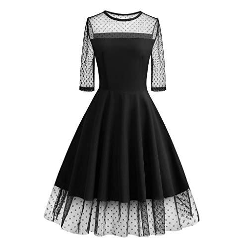 MAYOGO Kleid Damen Elegant Vintage 50er Spitze Kleid mit Tüll Langarm Cocktail Party Rockabill Kleider Abendkleid Sexy Chiffon-formales Abend-kleid
