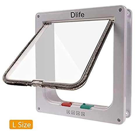 Cat Flap Dlife(TM) 4 Ways Locking Cat Door Large Size (9.8